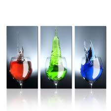 Kitchen Wall Pictures For Decoration Wine Glass Photo Print Wall Art Modern Triptych Canvas Print