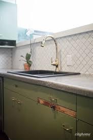 Mid Century Modern Kitchen Green Cabinets Concrete Counters - Backsplash board