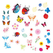 11 designs colorful butterfly flowers leaf nail sticker