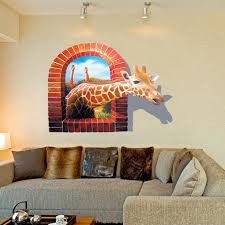 special wall paint new giraffe animal wall stickers 3d special effects fashion scrubs