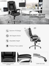 Chair Swivel Mechanism by Amazon Com Langria High Back Executive Office Chair Black Faux