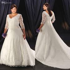 wedding dresses for larger discount 3 4 sleeve plus size wedding dress v neck for