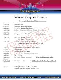wedding reception itinerary wedding reception itinerary d j debonaire free