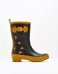 molly black bee print mid height printed welly joules uk