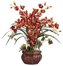artificial flower arrangements nearly cymbidium with decorative vase silk arrangement