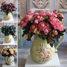 fake flowers for home decor new year hot vivid 6 branches autumn artificial fake peony flower