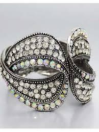 crystal rhinestone cuff bracelet images Chunky antiqued pave ab rhinestone crystal clamper cuff bracelet JPG