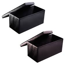 folding faux leather ottoman pouffe storage seat ottomans