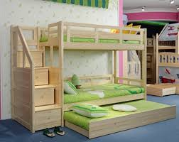 Bunk Bed Frames Solid Wood by Solid Wood Pine Staircase Bunk Beds With Guest Bed Triple