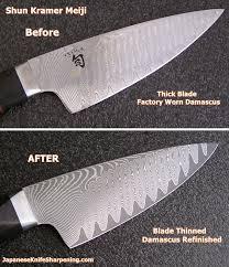 sharpening japanese kitchen knives japanese knife sharpening shun kramer meiji sg2 damascus redo