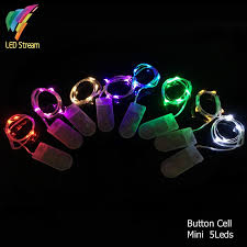 button cell battery powered 5 led silver color copper wire mini
