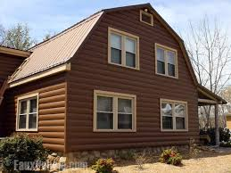 log cabin siding made from durable vinyl installed on a home in