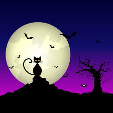background with a cat and a moon vector free