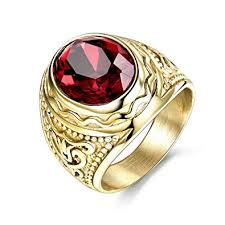 gold male rings images Masop lunxury engraved stainless steel mens ring red synthetic jpg