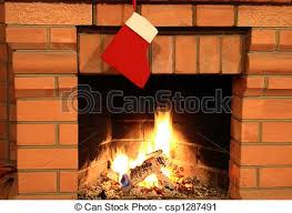 stock photography of sock on fireplace up of