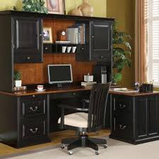 modern black computer desk black painted wood computer desk with hutch and storage drawer also