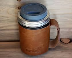 faux leather sleeve with handle travel mug for mason jars