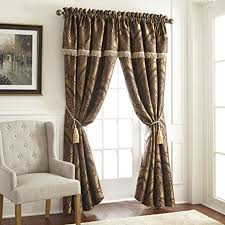 Seville Curtains Chezmoi Collection Seville 4 Jacquard Green Gold