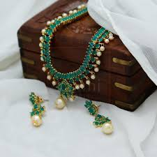 green necklace set images Green necklace set laxmi pearls jpg