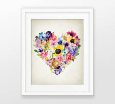 Floral Home Decor Watercolor Flower Love Heart Wall Art Print Botanical Print