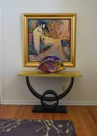 reclaimed wood media console entry contemporary with artwork