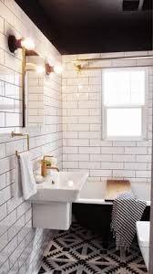black white and grey bathroom ideas black tile floor white subway walls bathroom bath and laundry