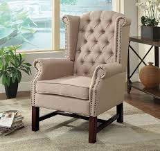 Beige Accent Chair Logan Wing Accent Chair
