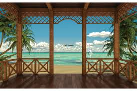 mural 3d veranda sea view with palm trees and boat wallpapers mural 3d veranda sea view with palm trees and boat