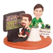 football wedding cake toppers custom football themed wedding cake toppers and groom with dog