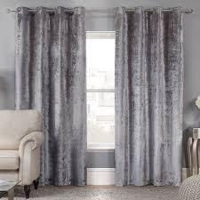 Velvet Curtains Elegance Allure Silver Crushed Velvet Luxury Eyelet Curtains Pair