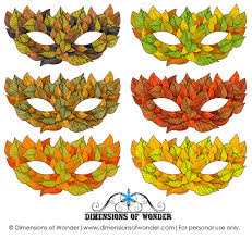 printable halloween masks in shades of fall autumn leaves