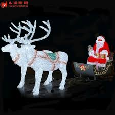 outdoor decoration led lighted reindeer carriage abs or