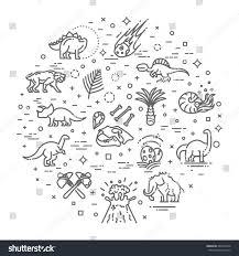 dinosaur icons vector dinosaur egg volcano stock vector 689420578