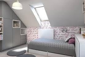 chambre fille sous comble design interieur chambre enfant grise combles déco murale