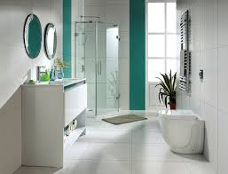 bathroom transparent glass door in corner shower area mixed with