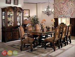 neo renaissance formal dining room set table 6 side 2 arm chairs