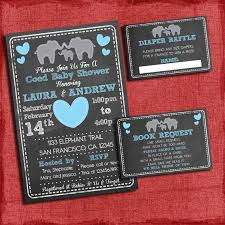 coed baby shower themes printable elephant theme coed couples baby shower set invite
