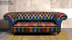 Chesterfield Sofa Patchwork Patchwork Chesterfield Sofa Harlequin Leather Buckingham Button Seat
