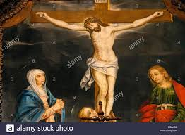 14th century painting of jesus on the cross with the virgin mary