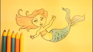 draw mermaid step step slowly beginners tail easy