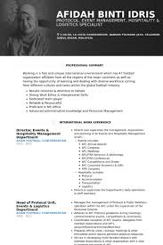 Hotel Resume Examples Hospitality Resume Samples Visualcv Resume Samples Database