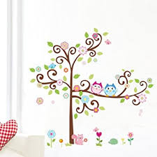 Wall Decor For Kids Room by 1 X Colorful Flower And Owls On The Tree Cartoon Wall Decor