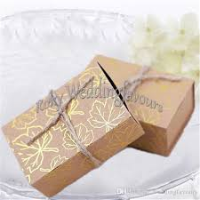 engagement favors fall autumn kraft gold maple leaf candy boxes wedding party favors
