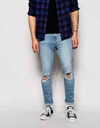 Ripped Denim Jeans For Men Hoxton Denim Skinny Ripped Jeans In Light Blue Wash Where To Buy