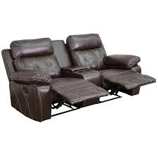 2 Seat Leather Reclining Sofa by Flash Furniture Reel Comfort Series 2 Seat Reclining Brown Leather