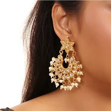 hanging earrings kundan women earrings with hanging pearls 18418 fashioncrab