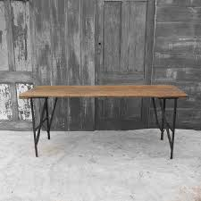 Small Pine Dining Table Vintage Folding Trestle Table Industrial Metal Legs Waxed Plank