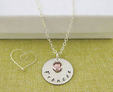 Stamped Name Necklace Birthstone Necklace Ebay