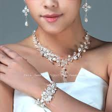 bridal earrings bracelet sets images Swarovski pearl bridal jewelry set necklace bracelet earrings jpg