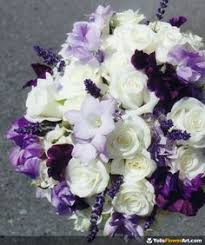 Violet Wedding Flowers - bridal bouquet all purple flowers with little bits of green